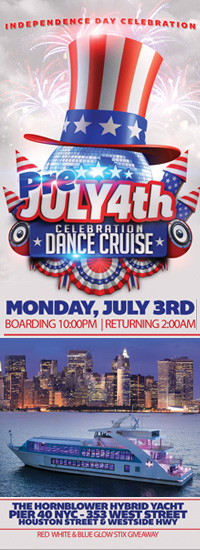 Pre Fourth of July Celebration NYC Hybrid Yacht NYC Pier 40 NYC July 4th Cruise Banner