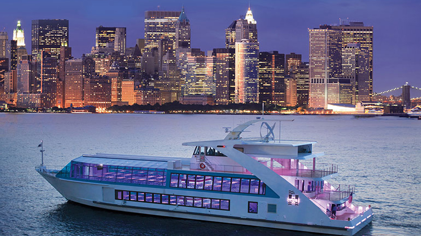 Rock The Yacht party cruise NYC Boat Party luxurious Hybrid Yacht boat Pier 40 NYC Hornblower Landing