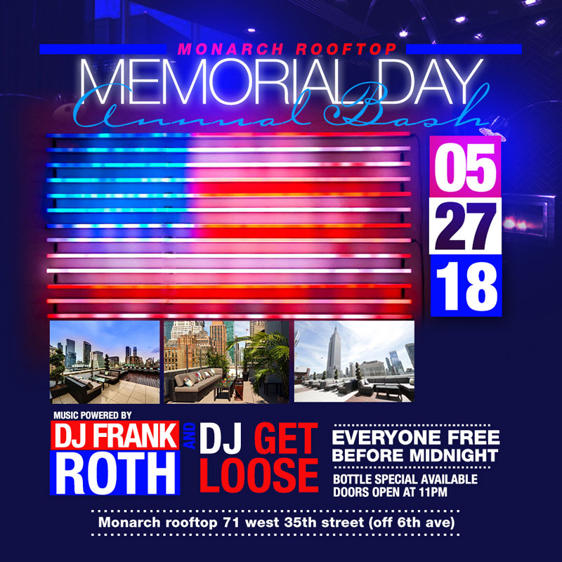 Monarch Rooftop Lounge NYC Memorial Day Weekend