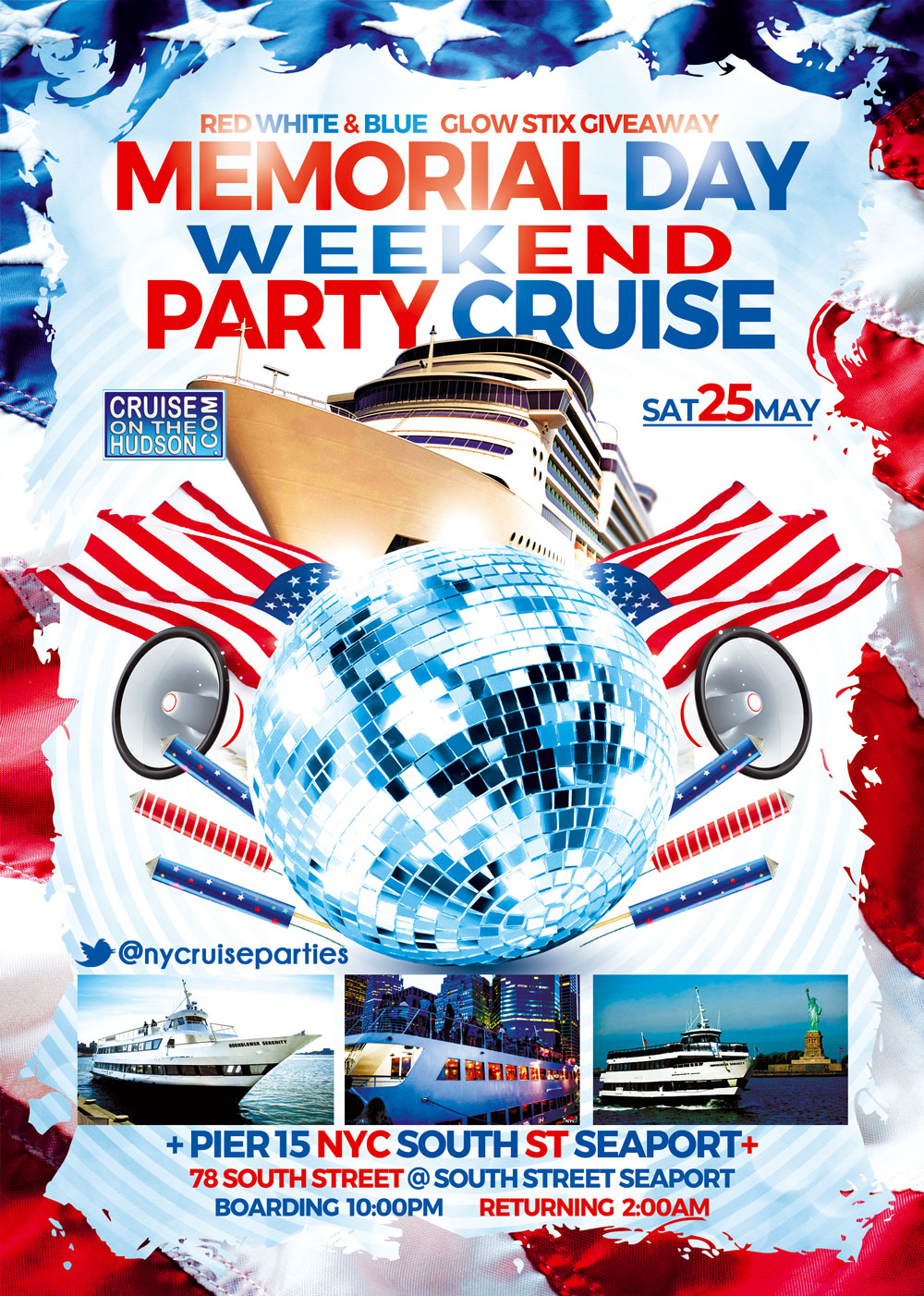Memorial Day Weekend Party Dance Cruise Hornblower Serenity Yacht NYC at Pier 15 NYC Flyer