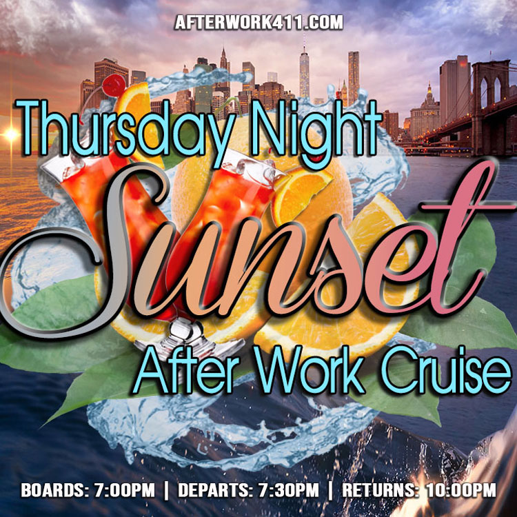 Sunset Cruise After Work Cruise NYC at Skyport Marina NYC Flyer