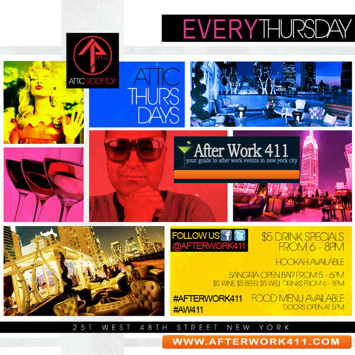 The ATTIC NYC Rooftop Lounge NYC After Work Wednesday