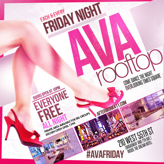 Ava Lounge Rooftop Bar NYC Nightlife at Dream Hotel Friday Night