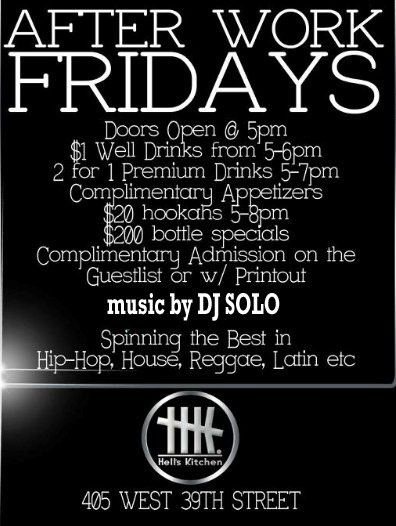 After work friday at Club HK NYC aka HK Lounge NYC Flyer