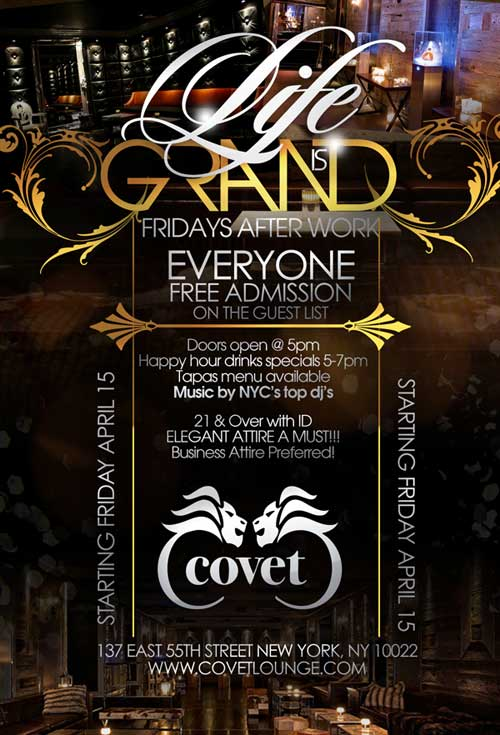 After work friday at Covet Lounge NYC Flyer