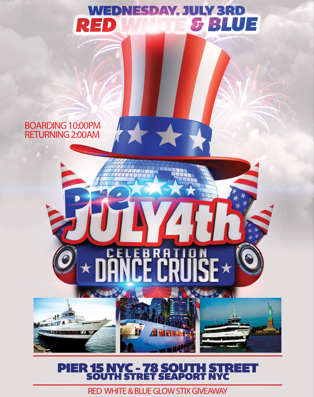Pre July 4th Weekend Party Cruise Yacht Party Boat Party NYC