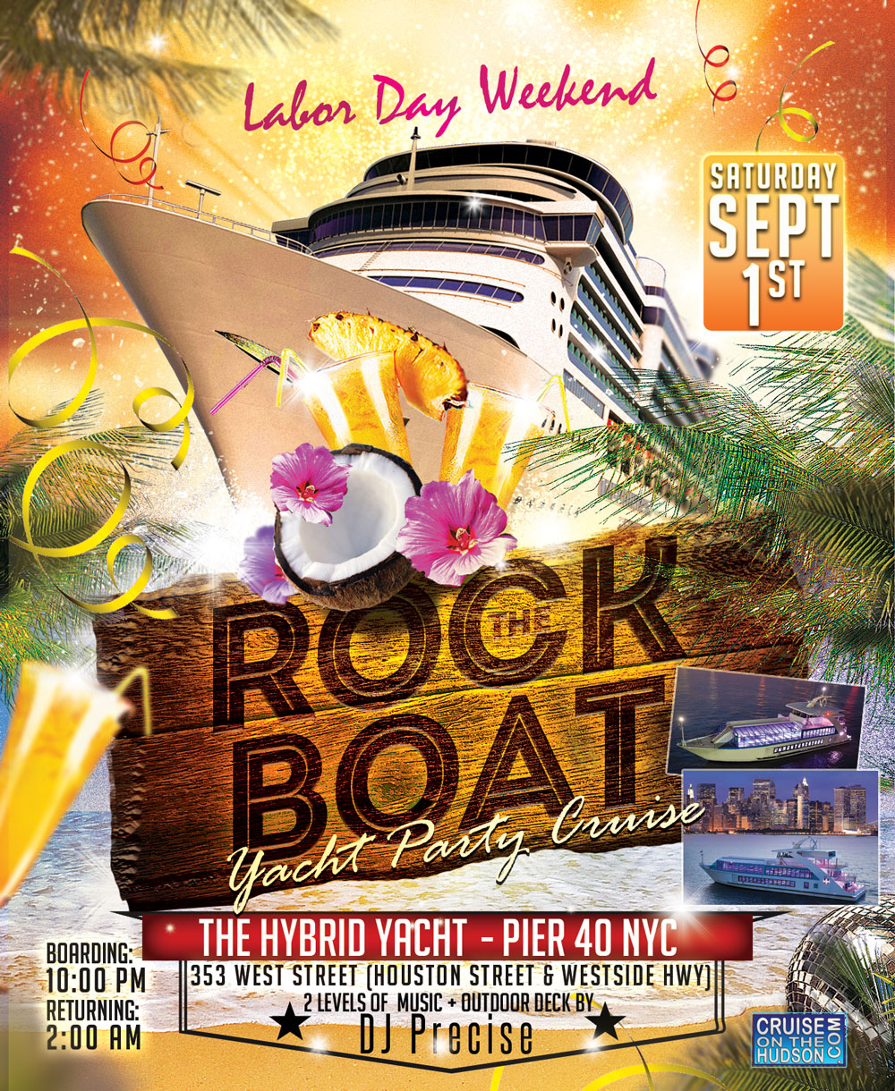 Rock The Boat end of summer yacht party cruise NYC Boat Party luxurious Hybrid Yacht boat Pier 40 NYC Hornblower Landing