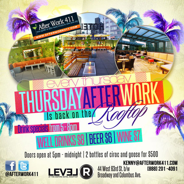 After work thursday at Empire Hotel Rooftop Lounge NYC, Best Rooftop bars NYC Flyer
