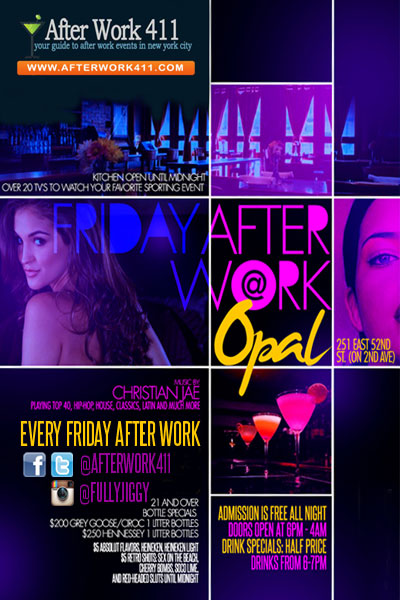 NYC After Work Friday at Opal Bar NYC Flyer
