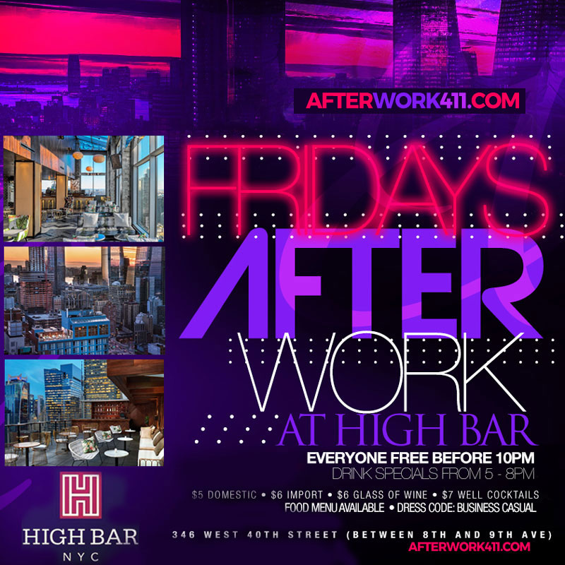 High Bar NYC Lounge NYC Nightlife After Work Friday NYC Happy Hour High Bar Rooftop Lounge | High Bar New York