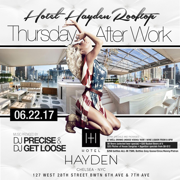 Hotel Hayden Rooftop NYC After Work Thursday New York
