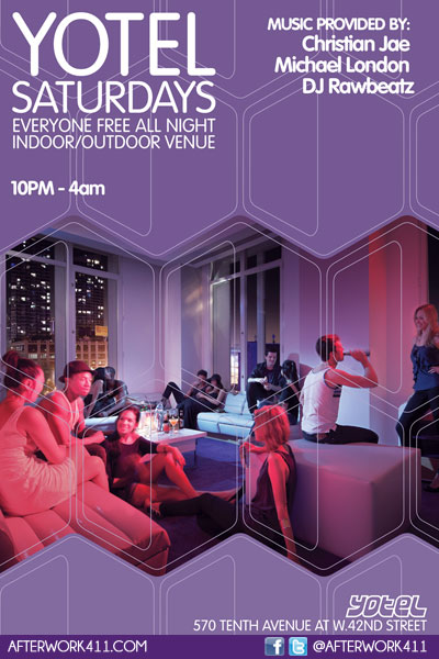 Yotel Hotel NYC Saturday night party Times Square New York