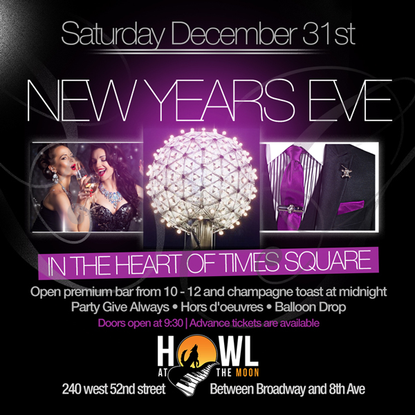 Howl at the Moon NYC New Years Eve 2017 NYE New York Times Square