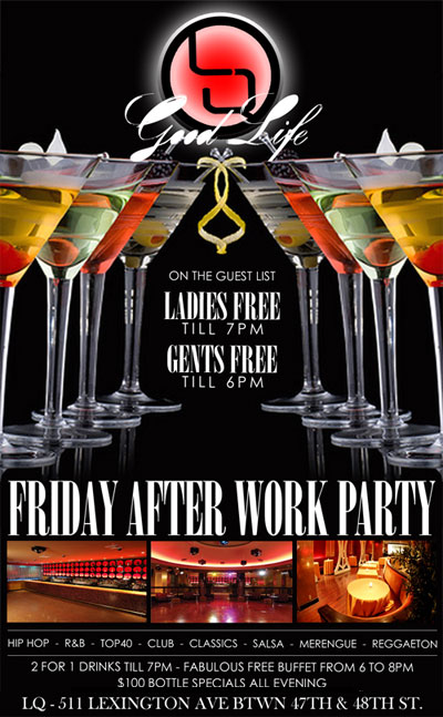 After work friday at LQ Nightclub Flyer