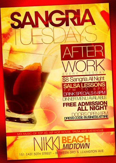 After work tuesday at Nikki Beach NYC Flyer