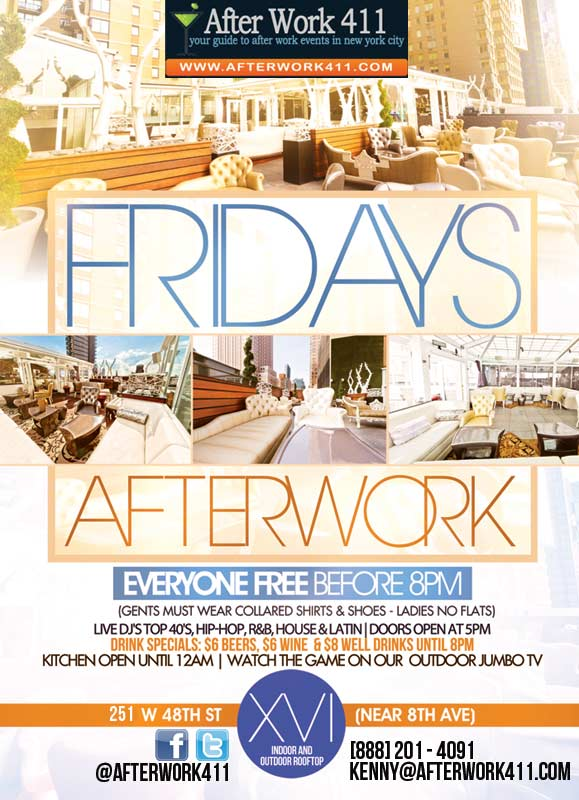 After work Friday at XVI NYC Lounge, a NYC rooftop lounge